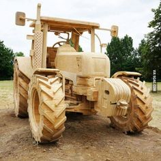 wood made wood tractor