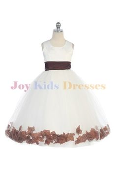 Long white flower girl dresses with brown petals