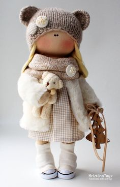 Christmas Doll Tilda Handmade Gifts for girls Christmas Decoration Textile Doll Nursery Interior Decor Gifts Handmade Doll New Year presents - Fabric Crafts DIY Ours Boyds, Bjd Doll, Doll Toys, Handmade Christmas Decorations, Little Doll, Waldorf Dolls, Soft Dolls, Handmade Toys, Handmade Rag Dolls