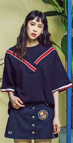 3인치 밴딩이 디자인 포인트인 밴드라인 티셔츠, Model : 172cm / M size