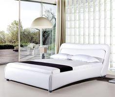 American Eagle B-D033-W-EK Modern White King Sleigh Bed