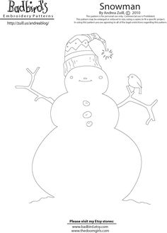 free snowman embroidery pattern