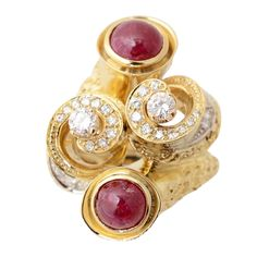 Ruby and Diamond Gold Ring | From a unique collection of vintage cluster rings at https://www.1stdibs.com/jewelry/rings/cluster-rings/