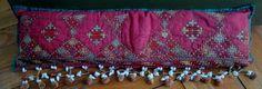 Vtg Primitive Ethnic AFRICAN Shell Fringe Detail Pillow Embroidery Sham RED RARE
