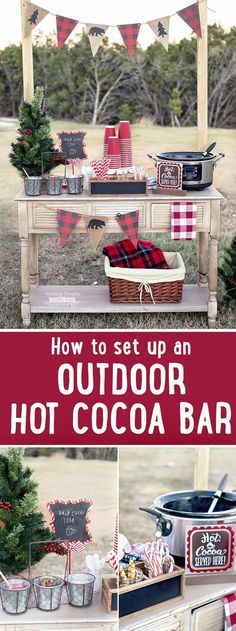 How to make an Outdoor Hot Chocolate Bar:This DIY Outdoor Hot Cocoa Bar is perfe. How to make an Outdoor Hot Chocolate Bar:This DIY Outdoor Hot Cocoa Bar is perfect for serving hot Hot Chocolate Party, Cocoa Party, Christmas Hot Chocolate, Chocolate Bars, Hot Chocolate Bar Wedding, Chocolate House, Holiday Parties, Holiday Fun, Hot Coco Bar
