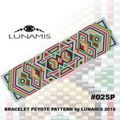 Bracelet pattern, peyote pattern, stitch pattern, pdf file, pdf pattern, #025P by LunamisBeadsPatterns on Etsy