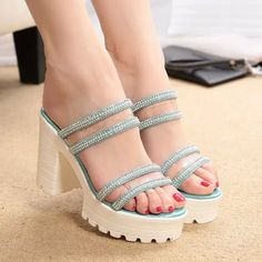 sensationaly hot Sweet Rhinestone Decorated  Wedge Sandals