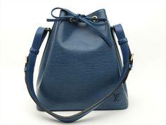 Louis Vuitton Authentic Epi Leather Blue Petit Noe Shoulder Tote Bag Auth LV Louis Vuitton Shoulder Bag, Black Shoulder Bag, Bucket Bag, Tote Bag, Leather, Blue, Ebay, Accessories, Style