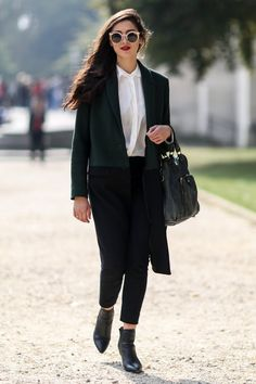 Pin for Later: The Best of Paris Fashion Week Street Style (Updated!) PFW Street Style Day 2 A preppy, polished outfit gets all dark and vampy.