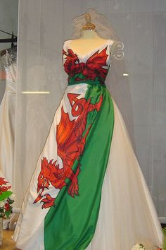 Welsh dragon wedding dress. For the serious bride, or just for fun?