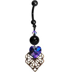 Handcrafted Antique Dark Heart Belly Ring MADE WITH SWAROVSKI ELEMENTS #piercing #bellyring #bodycandy