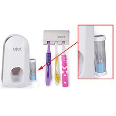 Toothbrush Holder and Toothpaste Dispenser with Hourglass