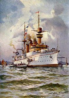 Willy Stöwer - S. M. Kreuzer Hansa setzt Boote zum Landen aus