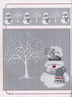 Point de croix bonhomme de neige