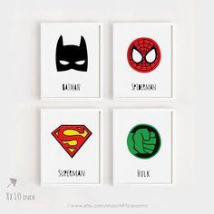 Nursery poster Batman Spiderman Superman Hulk Printable