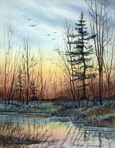 New Painting Landscape Monet Ideas Watercolor Pictures, Watercolor Trees, Watercolour Painting, Painting & Drawing, Watercolors, Landscape Art, Landscape Borders, Landscape Timbers, Creative Landscape
