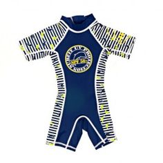 Jakabel Dolphin stripe UV50+ shorty sunsuits. UV50+ sun protection made in top quality nylon/lycra fabric which blocks 97.5% of the sun's harmful UVA/UVB rays. In 6 sizes from 0-6m to 6-7y in blue and pink. Available now at LAFF Kids Clothes in store and online. laffkidsclothes.co.uk