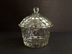 Mid Century Fostoria American Glass Covered Bowl, Cubist Design by GentlyKept on Etsy
