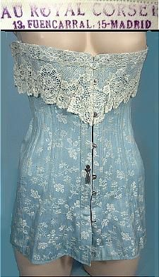 1908-1914, RARE Au Royal Corset, Madrid Light Blue Embroidered Corset with White Lace