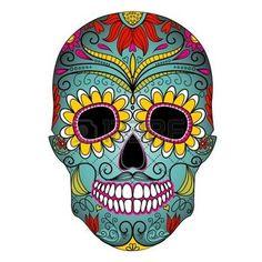 danger de mort: Jour du crâne mort coloré avec ornement floral