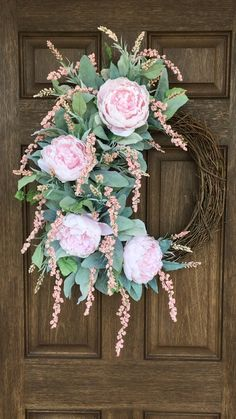 This Pink Peony Grapevine Wreath will wow your guests from Valentines through summer. The soft pink peonies are accented by cascading berries, lambs ear and filler flowers. So delicate and romantic it would be the perfect gift for your significant other. Diy Spring Wreath, Spring Door Wreaths, Easter Wreaths, Wreaths For Front Door, Diy Wreath, Grapevine Wreath, Tulle Wreath, White Wreath, Hydrangea Wreath