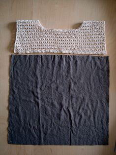 DSC01738 crochet yoke on a t shirt.  I would gather the t-shirt in the front.