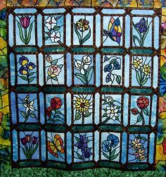 Stained glass flowers quilt