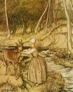 "An illustration by Arthur Rackham for the stories written by the brothers Grimm, this one is from""The little brother and the little sister""."
