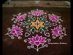 This is a dotted lotus kolam with interlaced dots Indian Rangoli Designs, Rangoli Designs Latest, Simple Rangoli Designs Images, Rangoli Designs Flower, Rangoli Border Designs, Rangoli Patterns, Border Embroidery Designs, Rangoli Ideas, Rangoli Designs With Dots