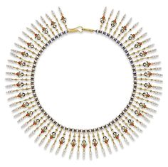 "An important gold, enamel and pearl Giuliano fringe necklace, the necklace in Indian-style, the collar of blue and white enamelled beads with gold fringes in two alternating designs, the floral fringes heightened in blue, green and red translucent enamel, each terminating in three seed pearls, measuring approximately 14"" in length, signed C.G., circa 1874-1895."