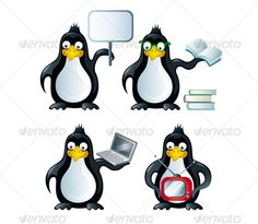 Set of icons with penguins — Layered PSD #book #personage • Available here → https://graphicriver.net/item/set-of-icons-with-penguins/56512?ref=pxcr
