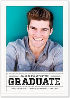 Cool Portrait - Graduation Announcements in Milk or Ruby | Magnolia Press