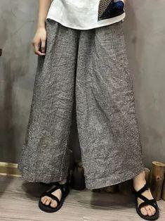 Wide Leg Trousers Casual Women Plaid Check Pockets Cotton Linen Pants Retro Loose Long Pantalon Plus Size Trouser Pants, Linen Pants, Wide Leg Trousers, Ghana, Georgia, Fall Collection, Korea, Dressing, Pantalon Large