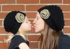 Mommy and Me Matching Knit Black Hats with Tan and Black Flowers - Knit Toddler Hat - Knit Women's Hat. These are $50-ugh any knitters that I know want to do this for cheaper?!?!