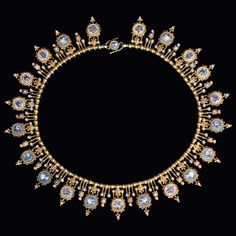 Exquisite Archaeological Revival necklace in yellow gold designed as a gold bead and wire-work chain suspending a fringe of seed pearls and micro-mosaics depicting individual birds, insects and flowers Marchesini, Rome circa 1880