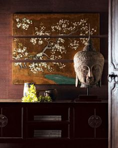 Suzie: ZEN  Asian oriental wood media cabinet with Asian art panels and large buddha head! ...