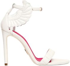 "Oscar Tiye ""Malikah"" White Leather Ankle-Strap Sandals"