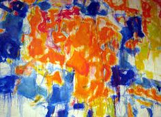 """A detail of """"Basel Mural I"""" © 2011 The Sam Francis Foundation/Artists Rights Society Basel, Abstract Expressionism, Abstract Art, Abstract Paintings, Field Paint, Sam Francis, Mosaic Backsplash, Contemporary Artists, Modern Art"""