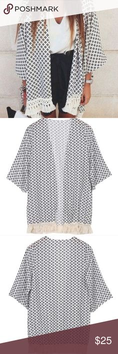 Geometric Chiffon Fringe Boho Kimono Brand new. Currently have 1 small in stock. Super cute for all year round :) Tops Blouses