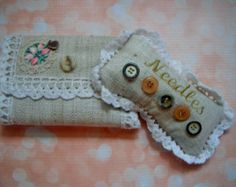 Handmade Linen Pin Cushion and Needlebook, Handmade Needlecraft, Flax Linen and Vintage Lace, Recycled Materials