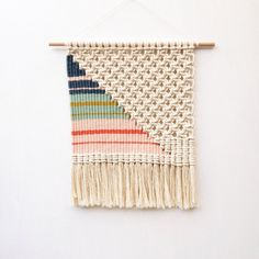 Woven Macrame Wall Hanging / Striped Triangle by KateAndFeather