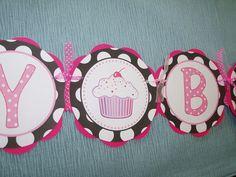 birthday banner cupcake theme