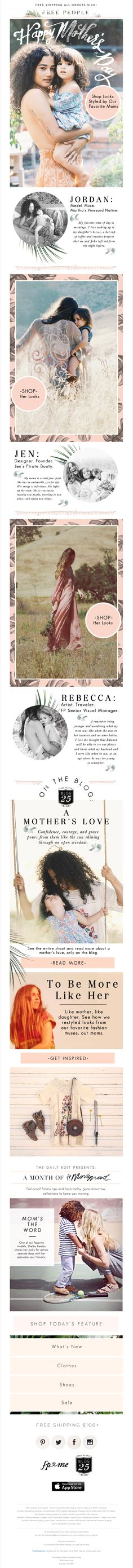 Free People email for Mother's Day; SL: Re: Mom; Email sent: May 7, 2015 5:08 pm