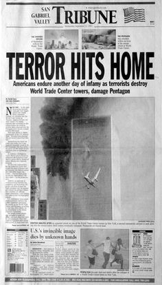 Newspaper front page on Sept. 12, 2001.  THIS IS ONE REASON WE WILL NEVER FORGET!!!!!!!!!! WAKE UP AMERICANS THAT ARE STILL BELIEVING THE LIES OF HILLARY AND OBAMA.