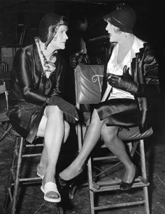 Jack Lemmon and Tony Curtis on the set of Some Like It Hot.