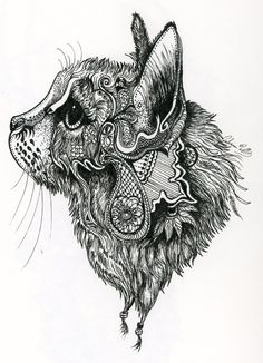 from pinner: This started as a sketch of my cat and evolved into much more. I have a love for henna patterns and they made their way into this doodle.