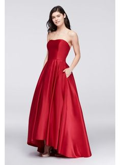 5e7cb37a852ce0 High-Low Lamour Satin Ball Gown A18224 Formal Dresses
