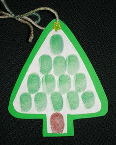 Fingerprint Christmas Tree Ornament, can be used as a Christmas card