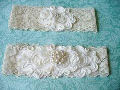 Weddings/ Garter/ Bridal/ Lace/ Cream/ Ivory by bridalambrosia, $26.00