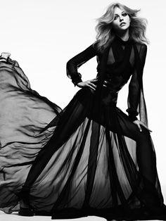 Sasha Pivovarova by Hedi Slimane for Vogue Japan (August 2011), Editorial: Tough Love  Dress: Gucci (RTW Fall 2011)